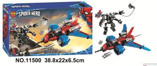 Конструктор Lari 11500 Реактивный самолёт Человека-Паука против Робота Венома